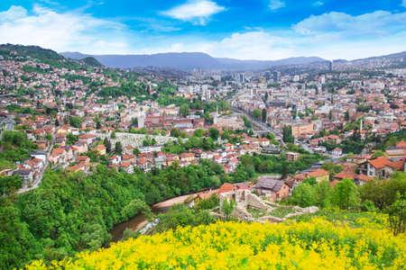 Beautiful view of the city of Sarajevo, Bosnia and Herzegovina Stock Photo