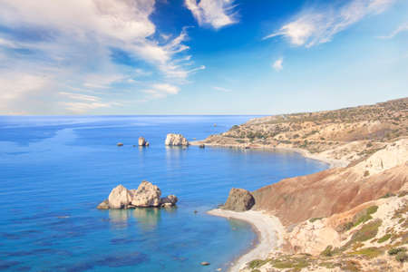 Beautiful view of the birthplace of Aphrodite in Cyprus. Petra tu Romiou, Stone of Aphrodite Stock Photo