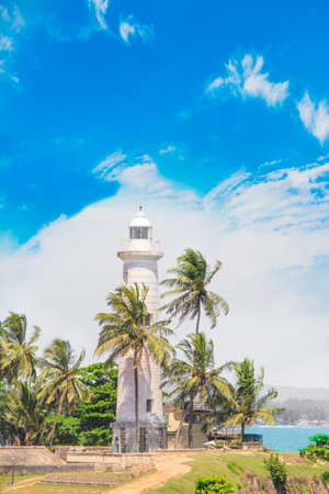 Beautiful view of the famous lighthouse in Fort Galle, Sri Lanka, on a sunny day Banque d'images