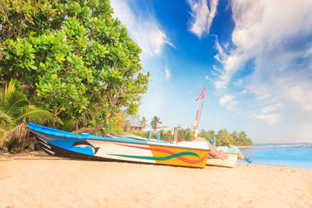 Bright boats on the tropical beach of Bentota, Sri Lanka on a sunny day Banco de Imagens