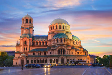 A beautiful view of the Alexander Nevsky Cathedral in Sofia, Bulgaria 스톡 콘텐츠