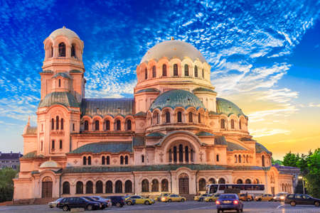 A beautiful view of the Alexander Nevsky Cathedral in Sofia, Bulgaria 免版税图像