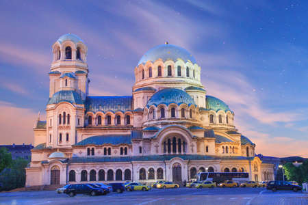 A beautiful view of the Alexander Nevsky Cathedral in Sofia, Bulgaria Standard-Bild