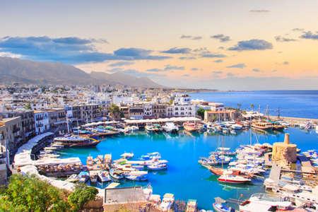 Beautiful view of the Kyrenia Bay in Kyrenia (Girne), North Cyprus