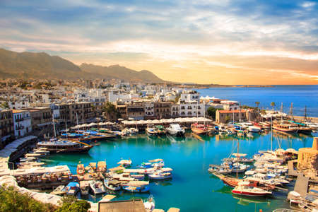 Beautiful view of the Kyrenia Bay in Kyrenia (Girne), North Cyprus Фото со стока - 93729797