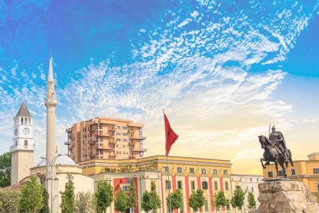 Monument to Skanderbeg in Scanderbeg Square in the center of Tirana, Albania