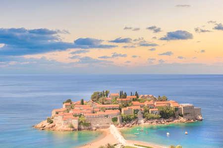 Beautiful view of the island-resort of St. Stefan (Sveti Stefan) on the Budva Riviera, Budva, Montenegro on a sunny day Stock Photo
