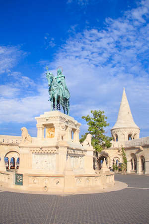 Beautiful view of the Monument to Istvan on the Buda Hill near the Fishermens Bastion in Budapest, Hungary
