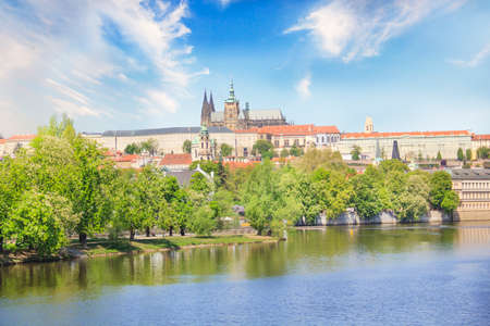 Beautiful view of St. Petersburg Vitus Cathedral and Mala Strana on the banks of the Vltava in Prague, Czech Republic