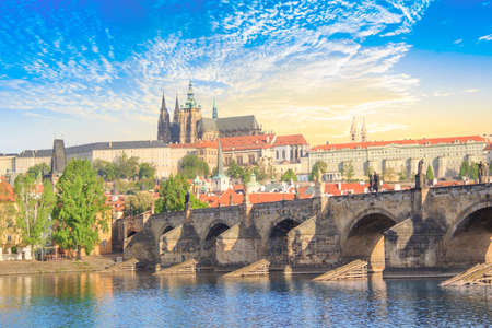 Beautiful view of St. Petersburg Vitus Cathedral, Charles Bridge and Mala Strana on the banks of the Vltava in Prague, Czech Republic