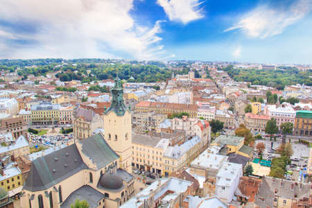 Beautiful view of the Town Hall Tower, Adam Mickiewicz Square and the historical center of Lviv, Ukraine 免版税图像