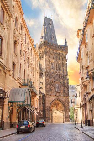 Powder tower in the center of Prague, Czech Republic Stock Photo - 104901119