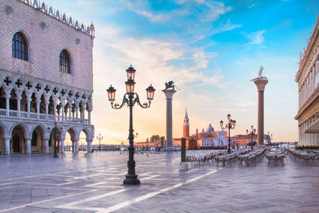 Beautiful view of the Doge's Palace Mark's column on Piazza San Marco in Venice, Italy