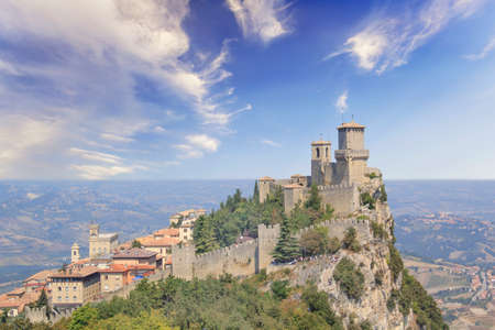 A beautiful view of the tower of Guaita on Mount Monte Titano in the Republic of San Marino