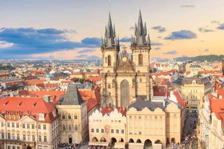 Beautiful view of the Old Town Square, and Tyn Church in Prague, Czech Republic Stock fotó - 110766721