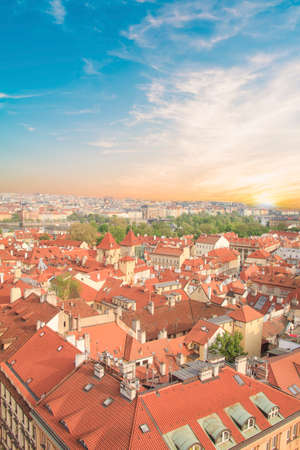 Beautiful view of tiled roofs in Prague's historic district, Czech Republic
