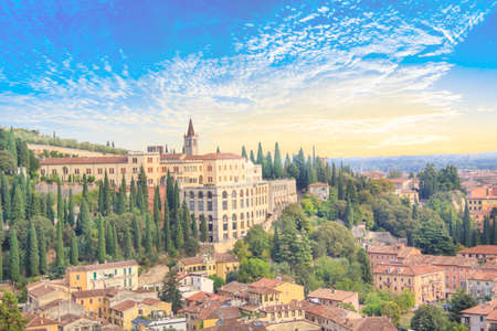 Beautiful view of the hill of San Pietro and the panorama of the city of Verona, Italy