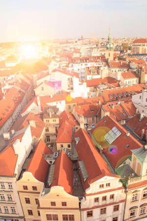 Beautiful view of tiled roofs in Pragues historic district, Czech Republic