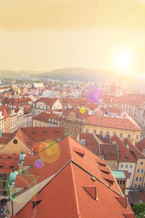 Orange shingles, architecture, building, city center, czech republic, downtown area, europe, historical buildings, medieval, old city, prague, showplace, sight, tiled roofs, tourist place, view