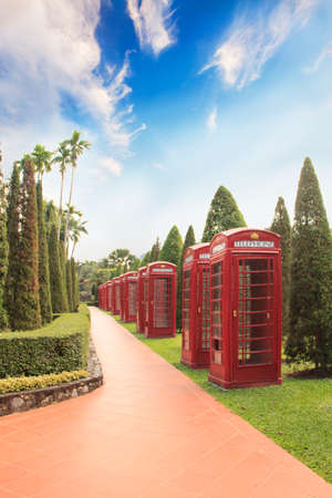 Decorative English phone booths in Nong Nooch Tropical Park, Pattaya Thailand