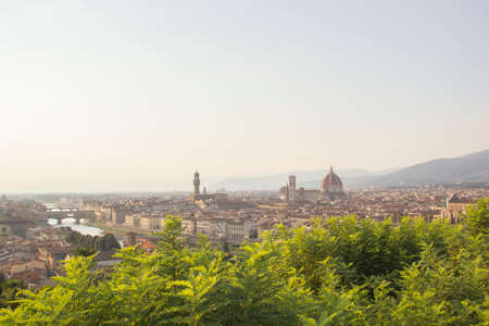 Beautiful view of Santa Maria del Fiore and Giottos Belltower in Florence, Italy
