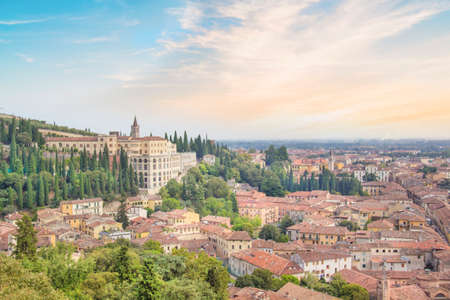 Beautiful view of the hill of San Pietro and the panorama of the city of Verona, Italy Stok Fotoğraf - 123319746