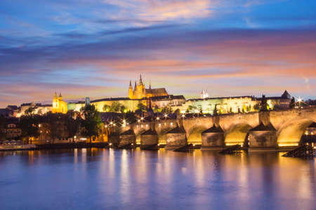 Beautiful view of St. Vitus Cathedral, Charles Bridge and Mala Strana on the banks of the Vltava in Prague, Czech Republic Editorial