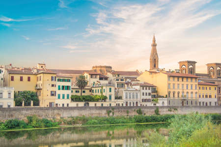 Beautiful view of the embankment of the Arno River in Florence, Italy