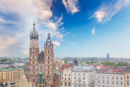 Beautiful view of the Church of the Assumption of the Blessed Virgin Mary (St. Marys Church) in Krakow, Poland