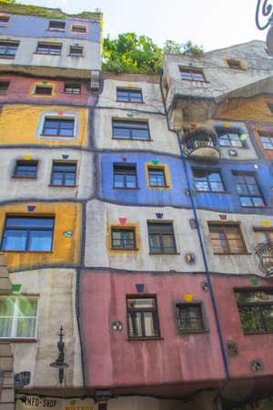 Beautiful view of the Hundertwasser house in Vienna, Austria