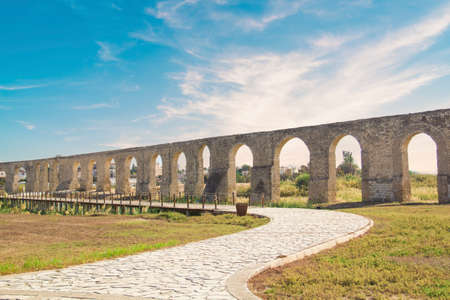 Beautiful view of the aqueduct in Larnaca, Cyprus