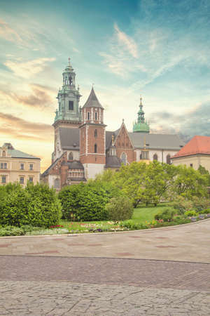 Beautiful view of the Cathedral of Saints Stanislav and Wenceslas (Wawel Cathedral) and the Royal Castle in Krakow, Poland