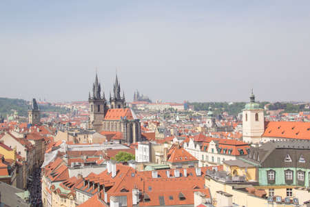 Beautiful view of the Old Town Square, and Tyn Church and St. Petersburg. Vitus Cathedral in Prague, Czech Republic