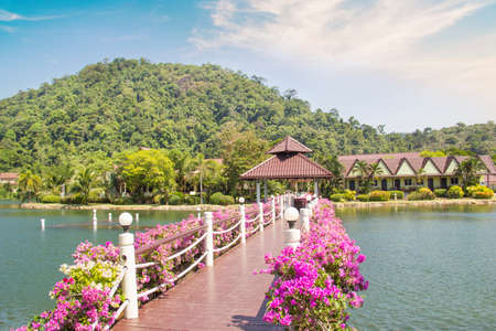 Beautiful view of a tropical resort in Thailand