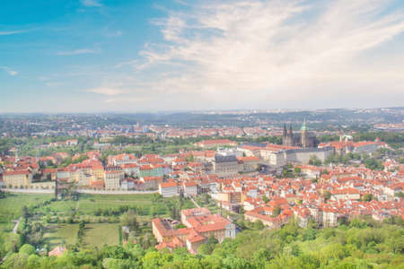 Beautiful view of St. Petersburg Vitus Cathedral, Prague Castle and Mala Strana in Prague, Czech Republic