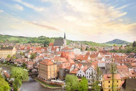 Nice view of the historic center of Cesky Krumlov, Czech Republic