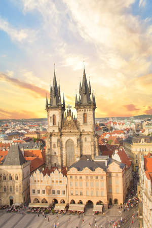 Beautiful view of the Old Town Square, and Tyn Church in Prague, Czech Republic