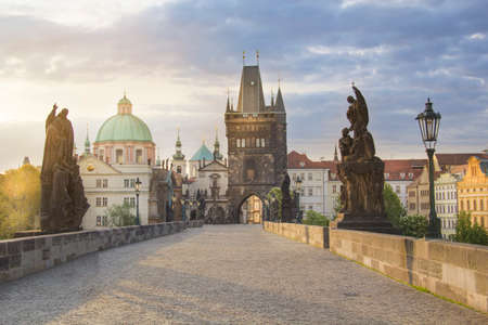 Beautiful view of the Old Town of Charles Bridge at dawn in Prague, Czech Republic Reklamní fotografie