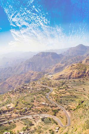 Beautiful view of rice terraces in the mountains in Yemen Reklamní fotografie