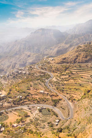 Beautiful view of rice terraces in the mountains in Yemen Фото со стока