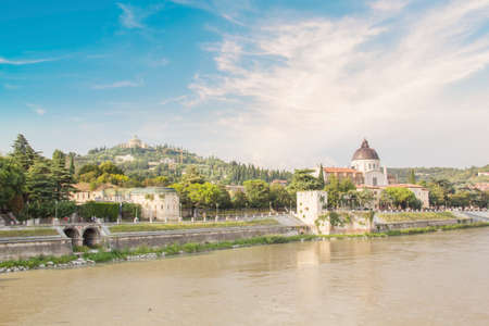 Beautiful view of the Church of San Giorgio on the Adige River in Verona, Italy