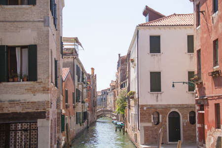 Beautiful view of the Venetian canals in Venice, Italy