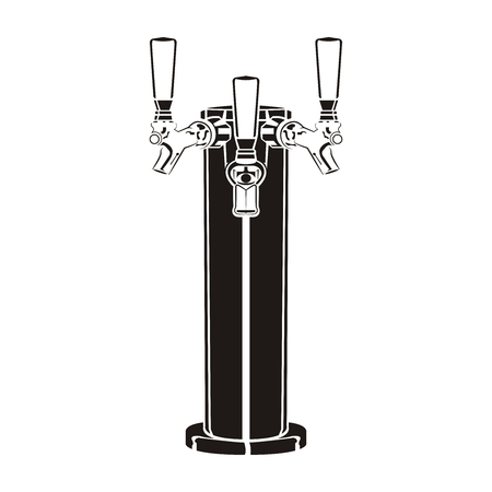 Beer faucet isolated on the white background, monochrome style, vector