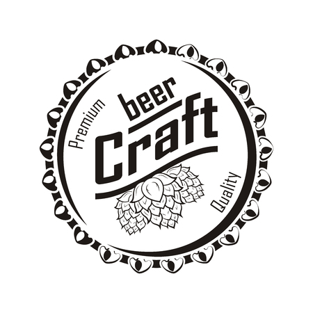 Craft beer logotype and badge on white background, monochrome style, vector