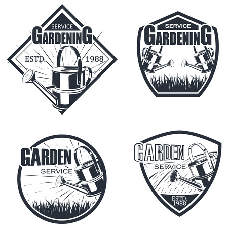 Set of four gardening service badge monochrome style, vector