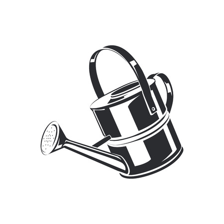Watering can isolated on the white background, monochrome style, vector