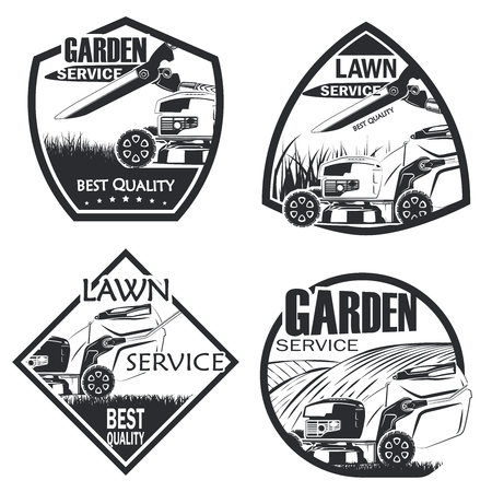 Set of four lawn service badge monochrome style, vector Stock Illustratie