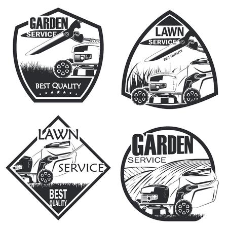 Set van vier gazon service badge zwart-wit stijl, vector Vector Illustratie