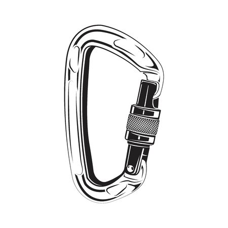 Carabiners climbing isolated on the white background, monochrome style, vector