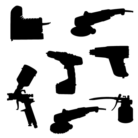 Silhouette tools set on the white background, different tools, vector